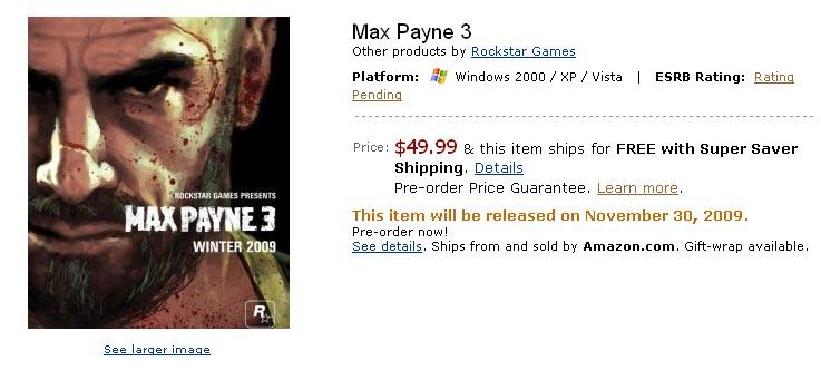 《马克思佩恩3》11月30号发售?!