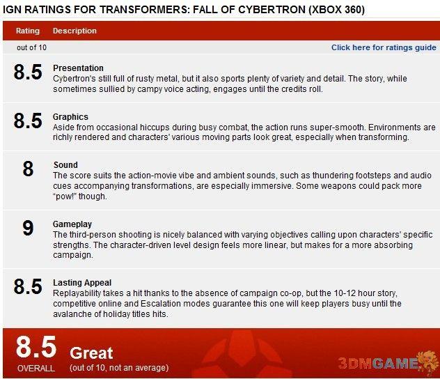 《变形金刚:塞伯坦陨落》汉化完毕 获IGN 8.5分评价
