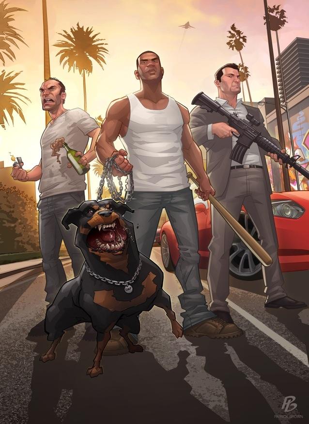 <b>粉丝制《GTA5》艺术图 恶犬棍棒大枪死法任你选</b>