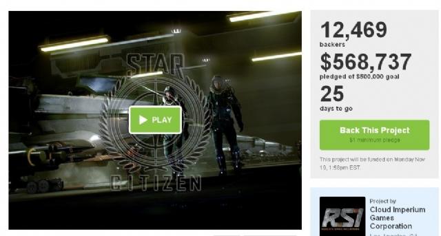 游戏新作《星际公民》强势募资 五天就破50万美金