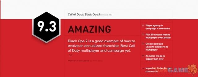 意料之中 《使命召唤9:黑色行动2》获IGN 9.3分评价