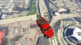 侠盗猎车5GTA5 联机娱乐视频 逗比老外拖车bug飞上天