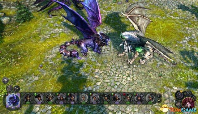 图中紫色的是黑暗精灵族的兵种蝎狮,而白色的是通过对蝎狮和人使用法术合成的亡灵族兵种拉马苏,拉马苏是老制作组做的,而蝎狮则是新制作组做的,效果立见高下。