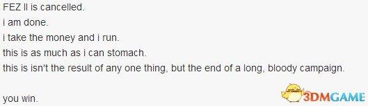 <b>独立开发者Phil Fish宣布退出游戏界 FEZ II同时取消</b>