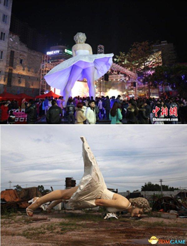 广西梦露雕像被拆 巨型雕像如今置身于垃圾场内
