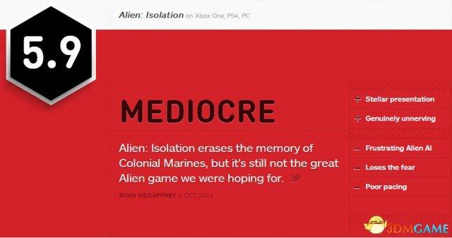 依然是不及格!《异形:隔离》获IGN 5.9分评价