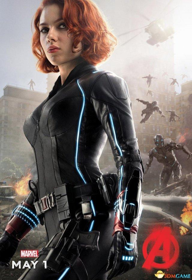 《复仇者联盟2》新角色海报 黑寡妇穿紧身衣很性感
