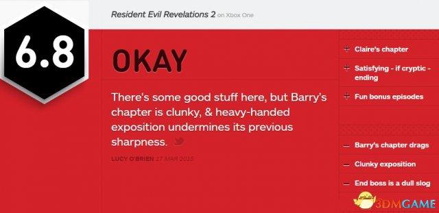 最差一个 《生化危机:启示录2》第四章IGN 6.8分