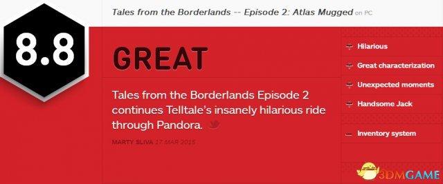 疯狂地大笑 《无主之地传说》第二章获IGN 8.8分