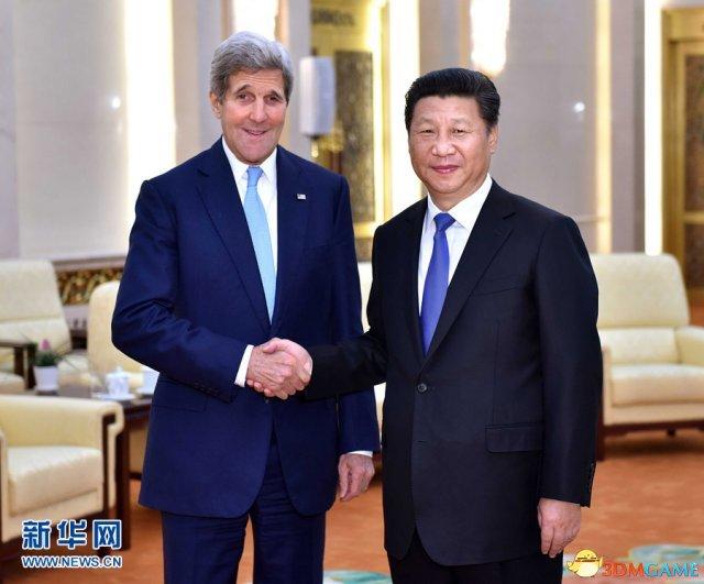 <b>习主席昨日会见克里 中方坚决维护南海等核心利益</b>