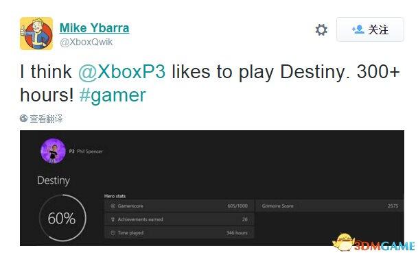 Xbox老总玩《命运》已超过300小时