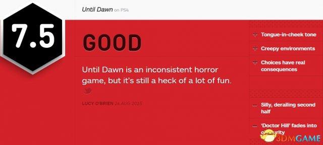 恐怖游戏《直到黎明》IGN 7.5分 附其他媒体评分