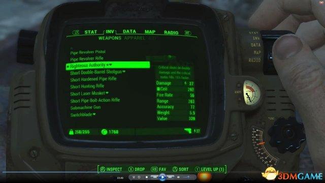 """《辐射4》首个传奇道具亮相 """"公义的权威""""激光枪"""