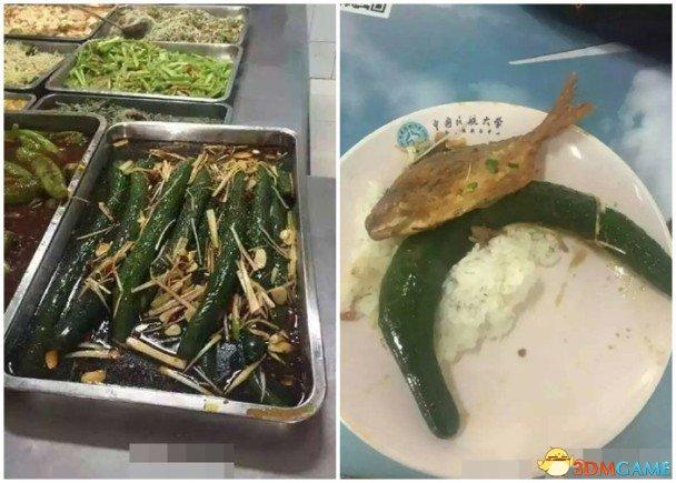 天津一高校饭堂再现奇葩菜品 整条黄瓜炒大葱