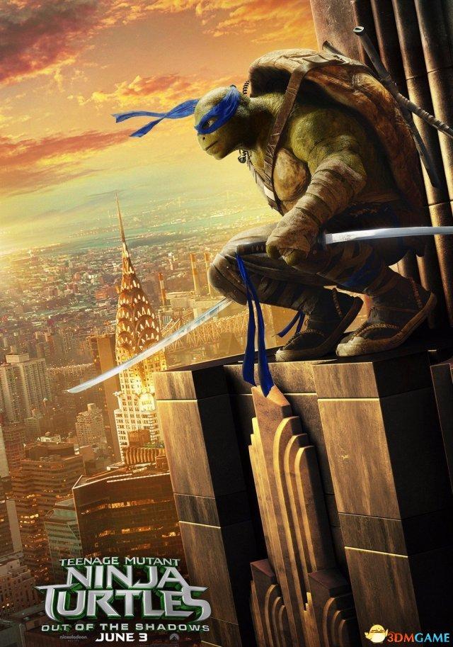 《忍者神龟2》新角色海报 神龟站高楼俯瞰城市风景