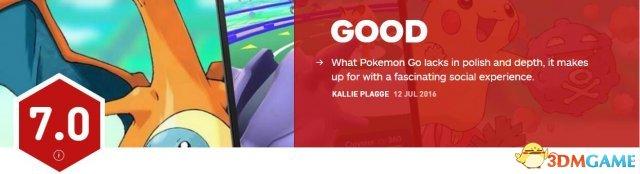 <b>《口袋妖怪GO》IGN 7分:概念很好但缺乏深度</b>