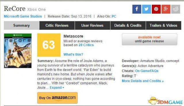 Metacritic平均分63分