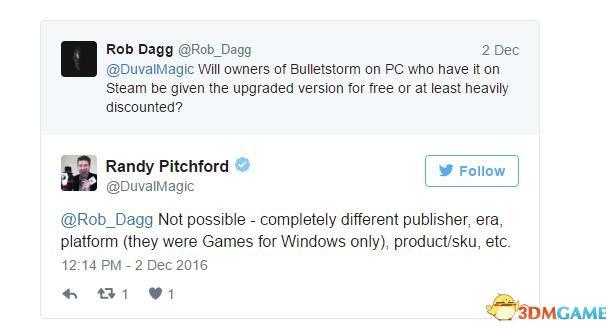 《子弹风暴》PC老买家不能免费升级 官方解释了