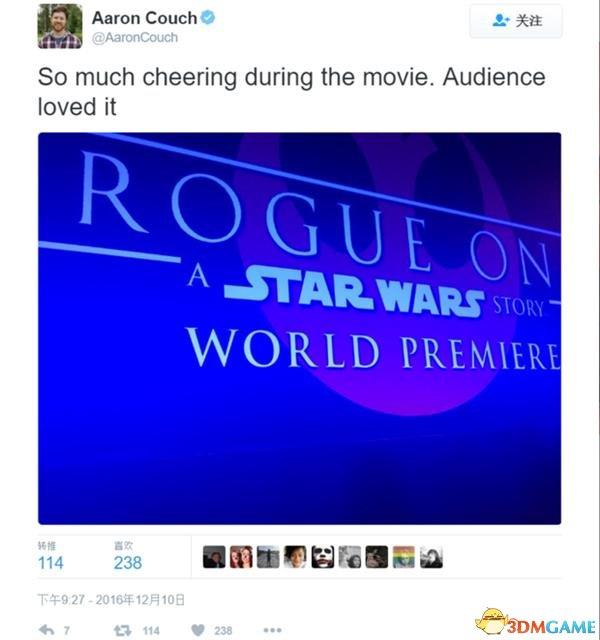 <b>口碑爆表 《星球大战外传:侠盗一号》首波评价出炉</b>