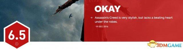 《刺客信条》电影IGN 6.5分 Meta平均分只有37分