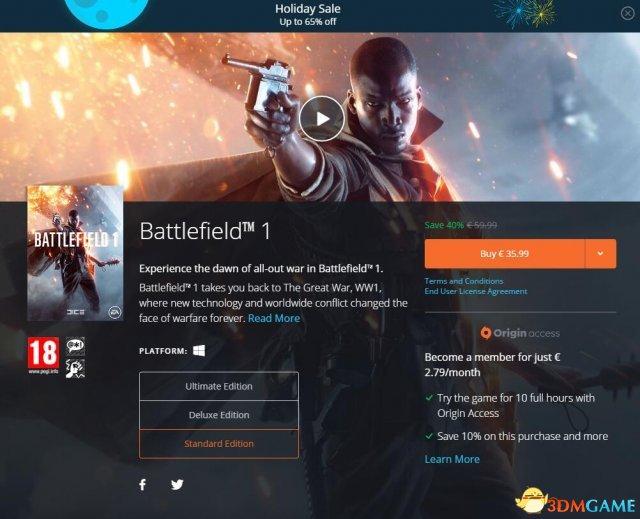 《战地1》EA Origin假日打折销售 即刻开始突突突