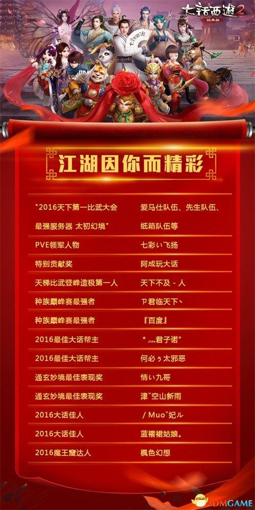 江湖因你而精彩 《大话西游2》2016嘉年华获奖名单