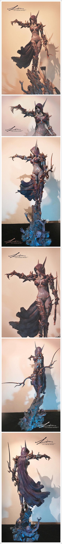 魔兽玩家原创手工分享:希尔瓦纳斯1比4全身雕像