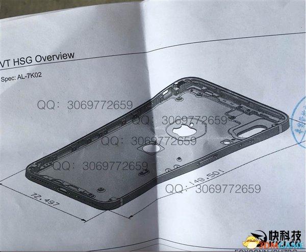 iPhone 8图纸曝光:垂直双摄像头、后置指纹识别