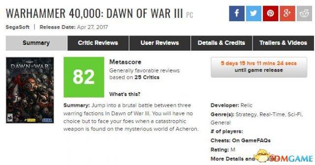 《战锤40K:战争黎明3》 单人战役IGN暂时7.2分