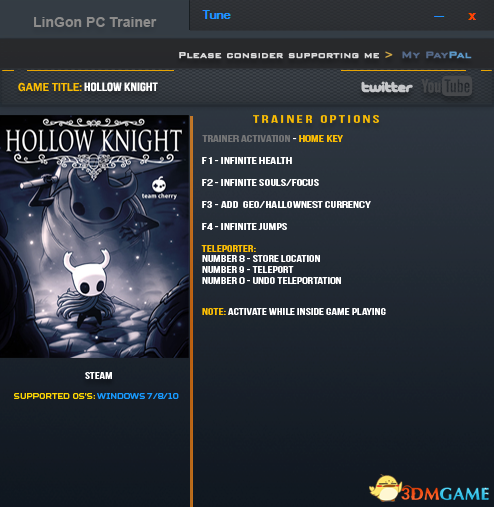 空洞骑士 v1.0.2.8九项修改器[LinGon]