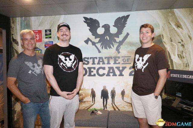 左起UndeadLabs工作室负责人JeffStrain、设计总监RichardFoge、游戏制作人Patrick Hooley
