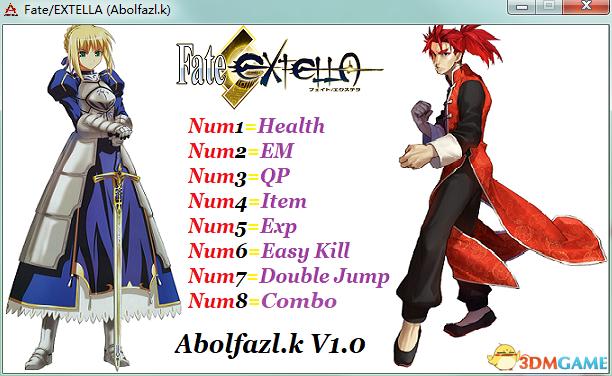 Fate/EXTELLA v1.0:X64八项修改器[Abolfazl.K]
