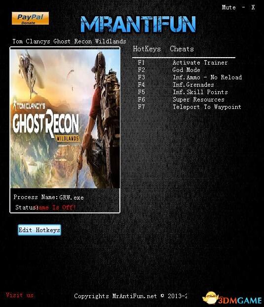 幽灵行动:荒野 v2415526七项修改器[MrAntiFun]