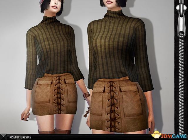 模拟人生4 v1.31Serena捆绳麻布短裙MOD