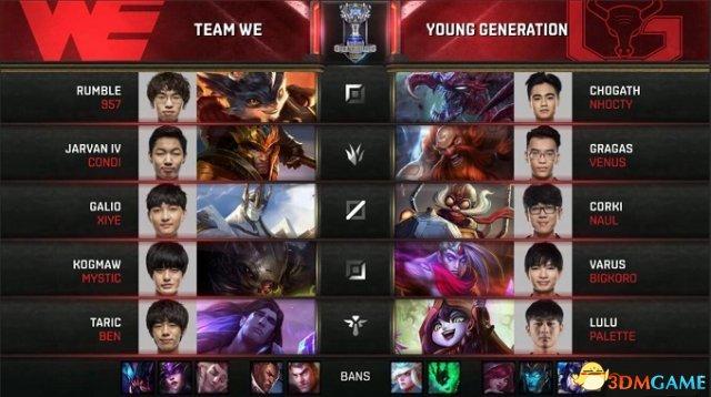 LOL全球总决赛入围赛收官赛 正在直播:WE VS YG