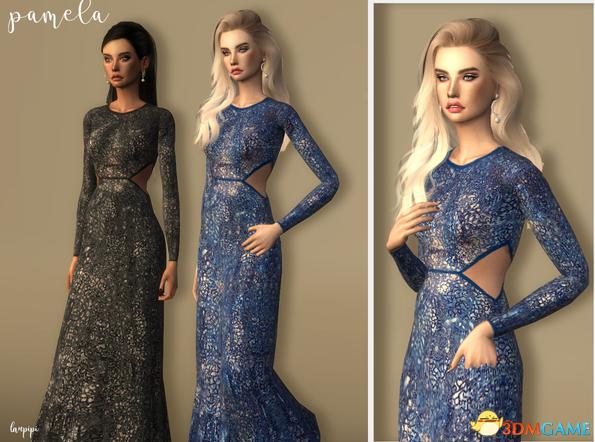 模拟人生4 v1.31Pamela蛇纹闪亮长裙礼服MOD