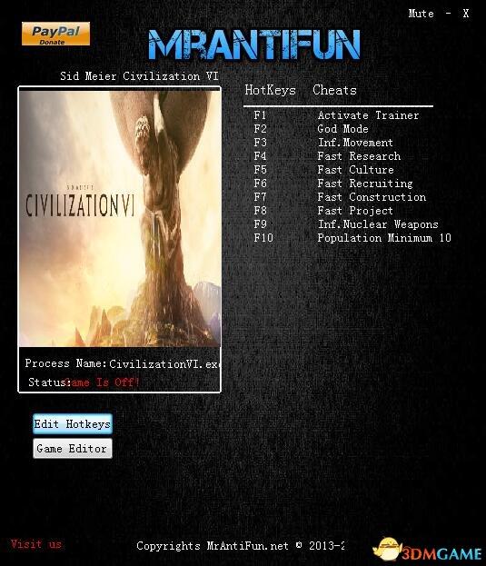 文明6 v1.0.0.194十二项修改器[MrAntiFun]