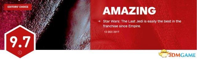 《星球大战8》IGN 9.7分 史上最好看的星战电影