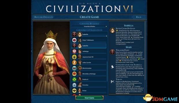 文明6 v1.0.0.194五代领袖西班牙伊莎贝拉MOD
