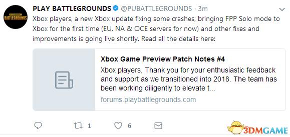 《絕地求生》Xbox One版更新加入第一人稱單排模式