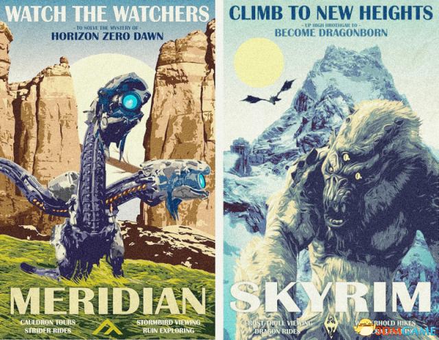 众多游戏大作被绘制成复古科幻片海报 毫无违和感