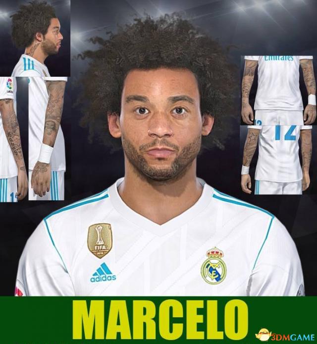 实况足球2018 皇马左后卫马塞洛纹身面部补丁
