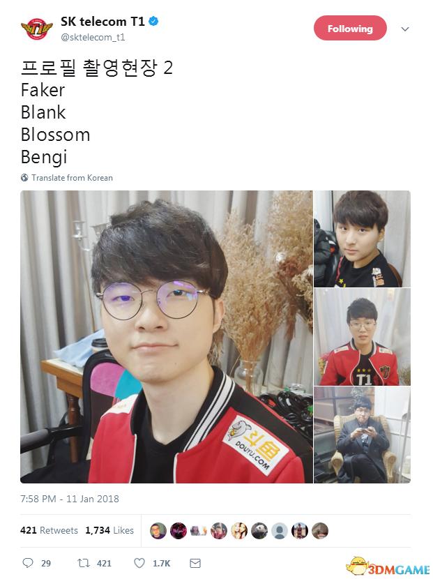 """""""瓜皮中单""""Faker笑地很开心 SKT T1曝全队成员新照"""
