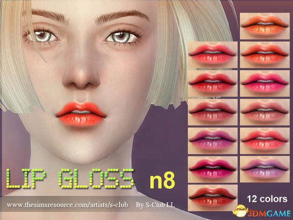 模拟人生4 v1.31S-Club F08号淡蜡笔色哑光唇彩包MOD