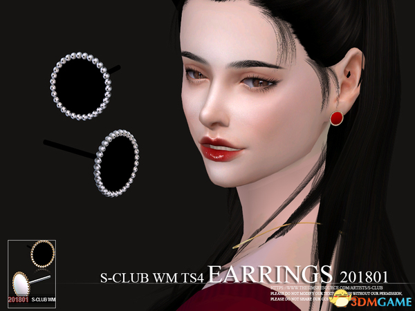 模拟人生4 S-Club201801女士小镜子圆珠圈耳钉MOD
