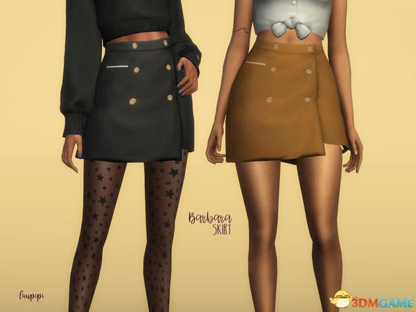 模拟人生4 v1.31Barbara女士裹臀排扣迷你小短裙MOD