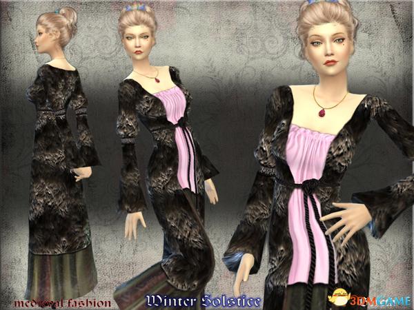 模拟人生4 v1.31女士中世纪风格毛皮长衣长裙套装MOD