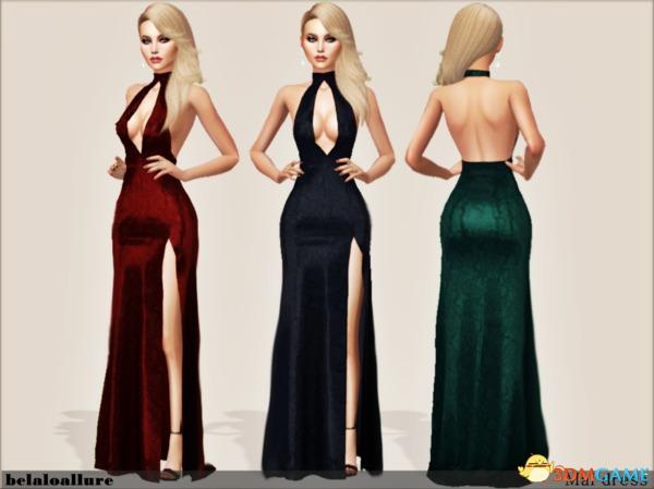 模拟人生4 女士低胸全露背高开叉礼服长裙MOD