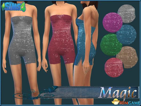 模拟人生4 女士发光鳞片抹胸连体衣MOD
