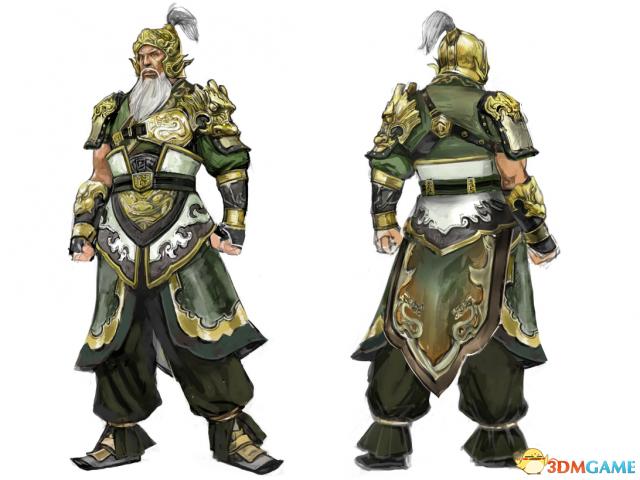 《真三国无双8》黄忠人设图 左肩黄龙铠甲很霸气